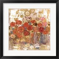 Framed Floral Frenzy I - orange