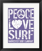 Framed Peace Love Surf