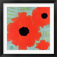 Framed Collection of Poppies on Blue