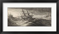 Framed Wenceslas Hollar - Warships and a Spouting Whale
