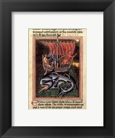 Framed 12th Century Painters - On Whales Folio from a Bestiary