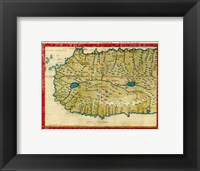 Framed 1561 Map of West Africa by Girolamo Ruscelli