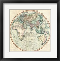 Framed 1801 Cary Map of the Eastern Hemisphere
