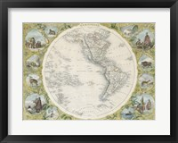 Framed 1850 Tallis Map of the Western Hemisphere