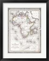 Framed 1852 Bocage Map of Africa