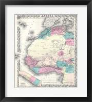 Framed 1855 Colton Map of Western Africa