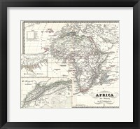 Framed 1855 Spruner Map of Africa Since the Beginning of the 15th Century