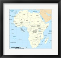 Framed Africa Map Political