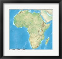 Framed Africa Relief Location Map