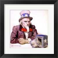 Framed James Montgomery Flagg  -Uncle Sam With Empty Treasury 1920
