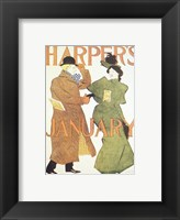 Framed Brooklyn Museum Harper's Poster January 1895  Edward Penfield