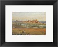 Framed Edward Clifford (1844-1907) - 'DiamondHead, Honolulu', watercolor painting, 1888
