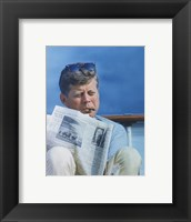 Framed President Kennedy Reading the New York Times