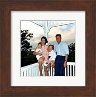 Framed JFK and family in Hyannis Port, August 1962