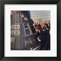 Framed JFK Inspects Mercury Capsule