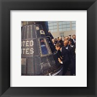 Framed JFK Inspects Mercury Capsule