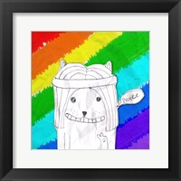 Hippy Peace Cat Framed Print