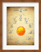 Framed Yoga Cow Sun Salutation