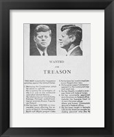 Framed JFK Wanted Dallas, 1963