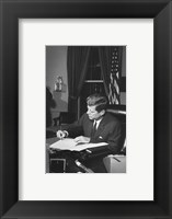 Framed Proclamation Signing, Cuba Quarantine. President Kennedy. White House, Oval Office