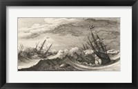 Framed Wenceslas Hollar - The whale and the three-masted ship