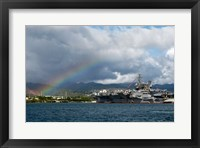 Framed US Navy, A Rainbow Arches Near the Aircraft Carrier USS Kitty Hawk