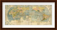 Framed Japanese World Map