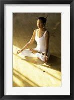 Framed High angle view of a young woman meditating