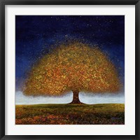 Framed Dreaming Tree Blue
