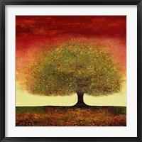 Dreaming Tree Red Framed Print