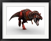 T Rex Charge Framed Print