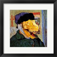 Framed T Rex Van Gogh with Bandaged Battle Damaged Ear