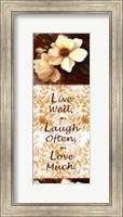 Framed Live Well, Laugh Often, Love Much