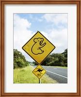 Framed Close-up of animal crossing sign on a roadside, Australia