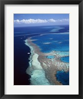 Framed Aerial view of a coastline, Hardy Reef, Great Barrier Reef, Whitsunday Island, Australia