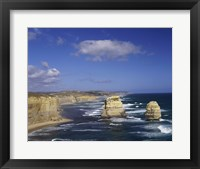 Framed High angle view of rock formations in the ocean, Gibson Beach, Port Campbell National Park, Australia