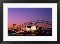 Framed Opera house lit up at night, Sydney Opera House, Sydney Harbor Bridge, Sydney, Australia