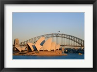 Framed Sydney Opera House in front of the Sydney Harbor Bridge, Sydney, Australia