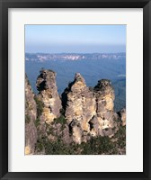 Framed High angle view of rock formations, Three Sisters, Blue Mountains National Park, Katoomba, Australia