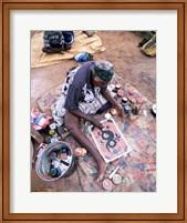 Framed Female artist painting, Alice Springs, Northern Territory, Australia