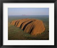 Framed Aerial view of a rock formation. Ayers Rock, Uluru-Kata Tjuta National Park, Australia