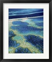 Framed Aerial view of a coastline, Great Barrier Reef, Australia