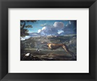 Framed Pace, Michelangelo, Greyhound, rabbit, and the Castle of Ariccia