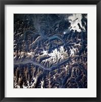 Framed Swiss alps from space taken by Atlantis