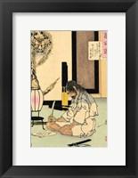 Framed Akashi Gidayu writing his death poem before comitting Seppuku