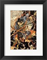 Framed Li Hayata Hironao grappling with the monstruos nue