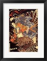Framed Oki no Jiro Hiroari killing a monstrous tengu