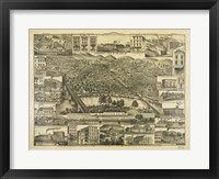 Framed Topographic View of the City of Reading PA. 1881