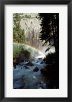 Framed Yosemite National Park, rainbow above stream, USA, California