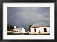 Framed Rainbow over a cottage, Cloonee Lakes, County Kerry, Munster Province, Ireland